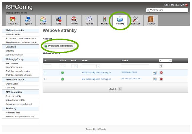 Vytvoření hostingu v ISPConfigu